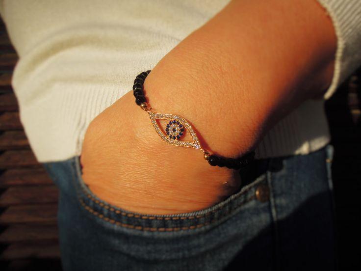 Turkish Eye Bracelet - Best Friend Jewelry - Gold Turkish Eye Bracelet - friendship jewelry - Rhinestone Bracelet - evil eye - yoga - tennis by ebrukjewelry on Etsy