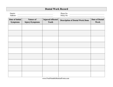 Great for personal medical records, this free, printable dental record has space to fill in injuries, symptoms, dates and dental work done. Free to download and print