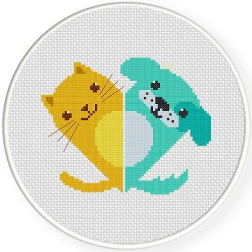 """Handmade, Unframed """"Cats Love Dogs"""" Cross Stitch-Home Decor, Cat Lover, Cat Gifts For Her, Dog, Dog Gifts, Dog Lover Gift, Dog Lover"""