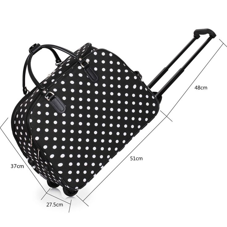 Ladies Travel Holdall Bags Hand Luggage Womens Polka Dot Weekend Wheeled Trolley Handbag (Black Polka Dot)