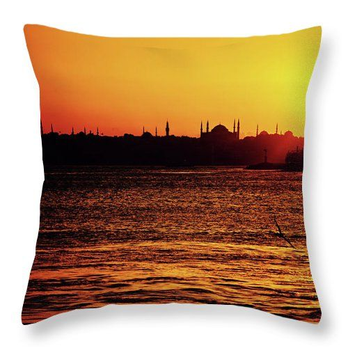 Silhouette Of Istanbul by Svetlana Yelkovan  Throw Pillow #SvetlanaYelkovanFineArtPhotography #pillow  #ArtForHome #FineArtPrints #sunset #Istanbul