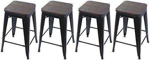 Magnificent Gia Black 24 Metal Stool With Wooden Seatset Of 4 Counter Inzonedesignstudio Interior Chair Design Inzonedesignstudiocom