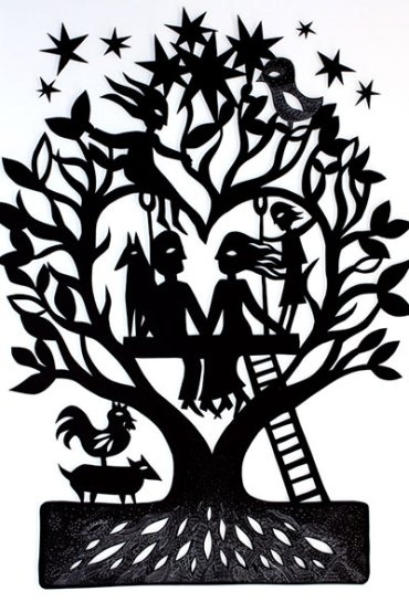 Sue Codee, Family Tree #4, 2012. Papercut, 25 x 25cm, framed in white box frame. $350. To contribute go to https://www.whatwewishfor.com/davenchristie/giftRegistry/21981