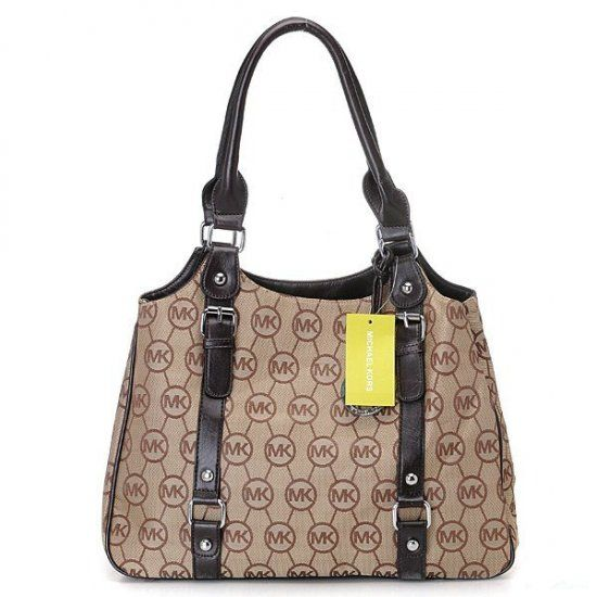 2012 Michael Kors Classic Tote Blcak with Camel Colour