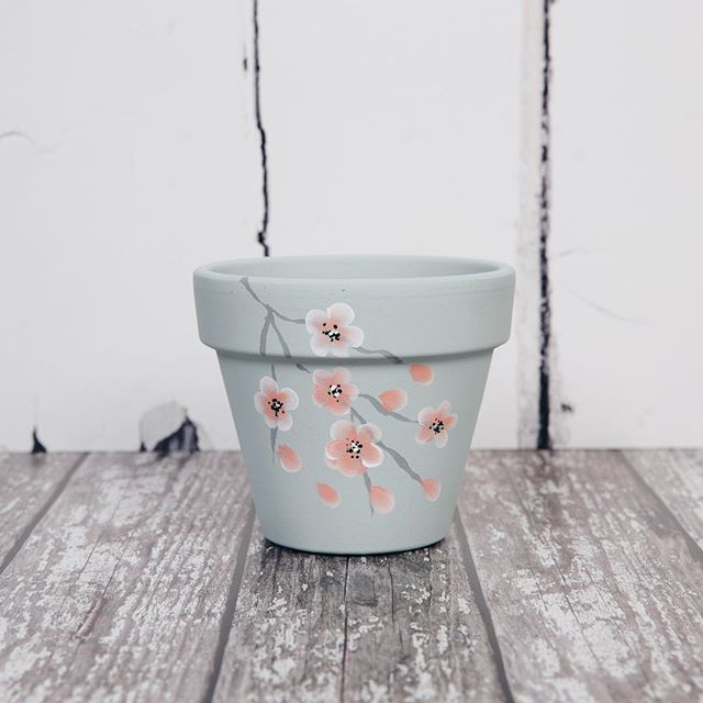 One for the Spring garden.  Create your own hand painted plant pot using DecoArt Chalky finish paint and our Series 2 Starter kit and oriental blossom add on kit available from www.folkit.co