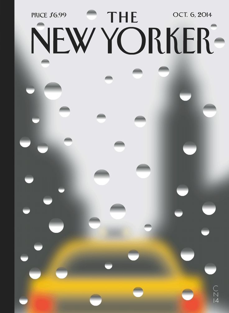 """New Yorker cover, October 6, 2014 [""""Rainy Day,"""" by Christoph Niemann. (the online version is a gif)"""