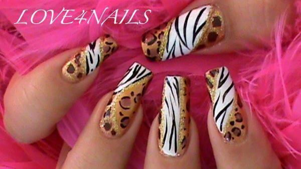 Animal Prints Nail Art Design by LOVE4NAILS - Nail Art Gallery nailartgallery.nailsmag.com by Nails Magazine www.nailsmag.com #nailart