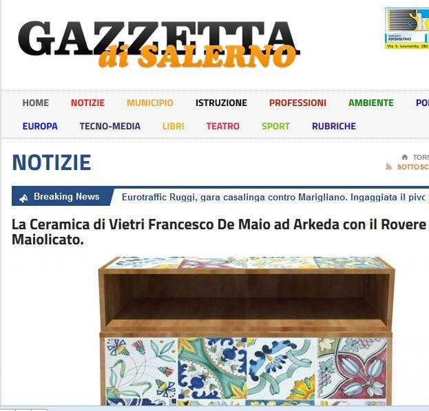 Ceramica Francesco De Maio ad #Arkeda #rassegnastampa #vietriceramic sulla Gazzetta di Salerno