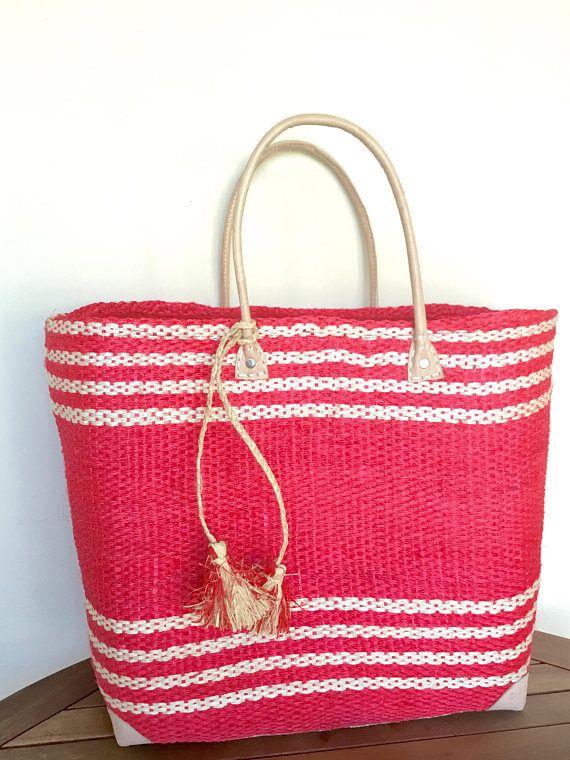 Large beach tote sisal bag raffia bag straw bag beach bag