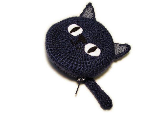 Crochet Cat Coin Purse by jamieleecreation on Etsy, $12.50