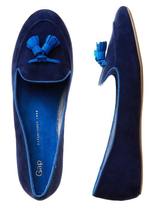 blue tassle loafers