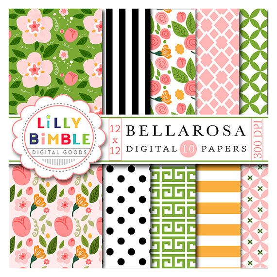 40% off Floral digital scrapbook papers with roses by LillyBimble