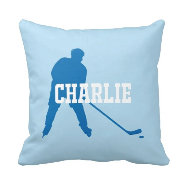 You will love this ice hockey player silhouette throw pillow, which includes your name!   You can customize this accent pillow in any colors from our palette or order it in the blue and white combo shown. This custom pillow is the perfect bedroom decor for any boy or teen ice hockey player!