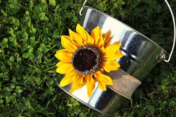 Sunflower Flower Girl Basket Daisy Wedding Pail Bucket