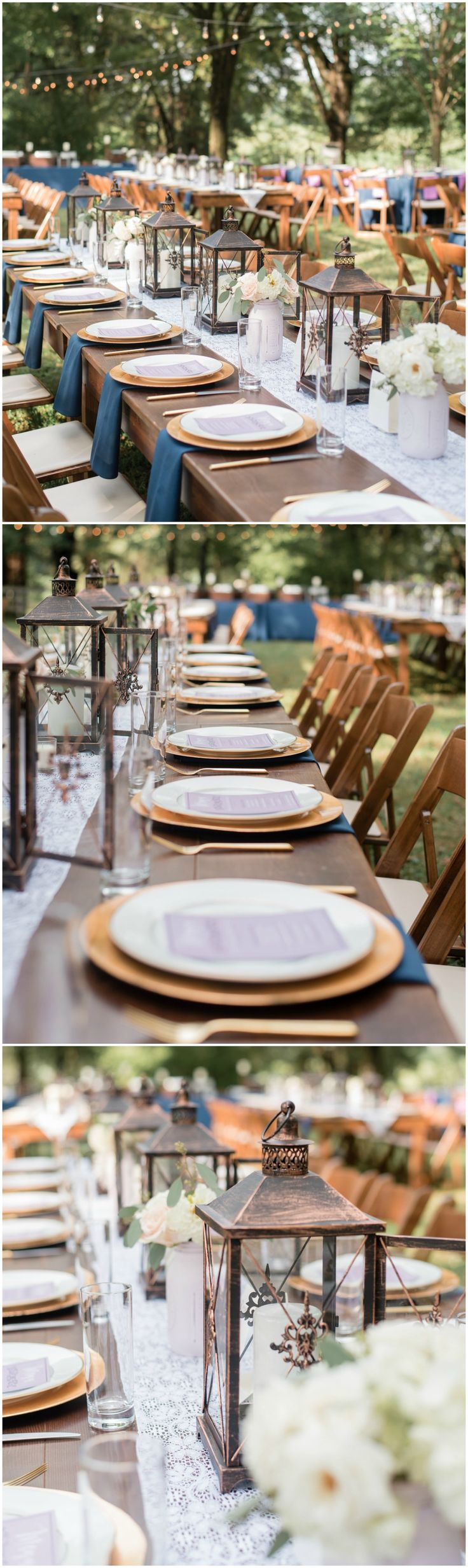 Outdoor wedding reception, copper lanterns, white floral centerpieces, draped lights, navy blue napkins, white lace table runners, long wooden tables // Melissa Desjardins Photography