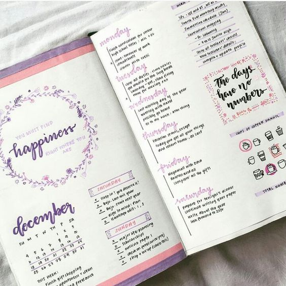 Purple and pink super pretty and original bullet journal layout