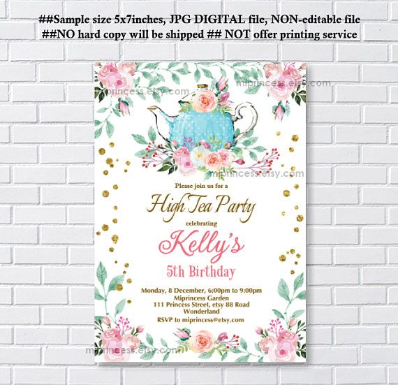 High Tea Invitation , French Tea Party, Kitchen Tea party, Bridal High Tea, Baby Shower, any age 1st 2nd 3rd 4th 5th - card 1263