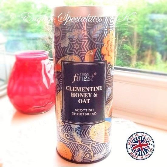 TESCO】Clementine Honey & Oat Shortbread Tin テスコ クレメンタイン ハニー&オート ショートブレッド缶