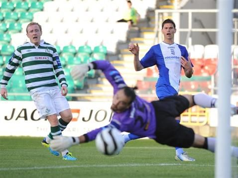 Nikola Zigic scores against Shamrock Rovers during pre-season. July 2013. #BCFC