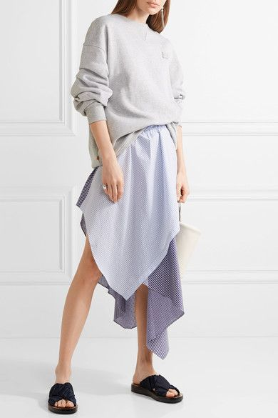 Opening Ceremony - Cody Wrap-effect Striped Jersey And Poplin Skirt - Sky blue -