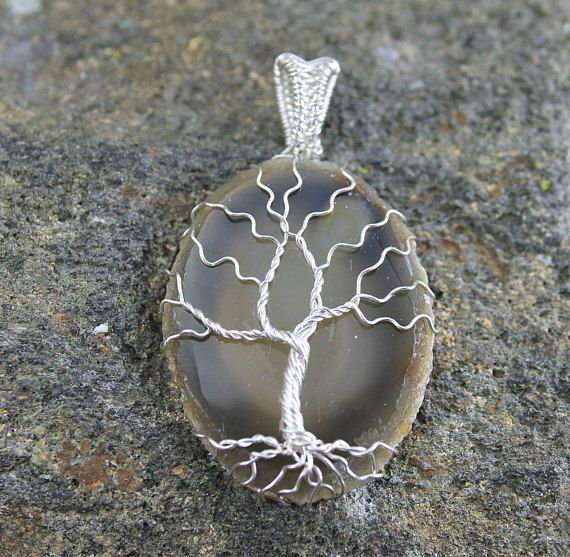 Sterling Silver Tree of Life Pendant Necklace on Agate, Boho Fashion Earthy Hippie Style, Trendy Nature Jewelry for Man or Woman