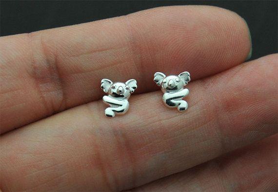 925 Sterling zilveren Koala oorbellen Koala hengsten dierentuin dierlijke sterling zilveren oorbellen lente dieren, kraakbeen stud, helix