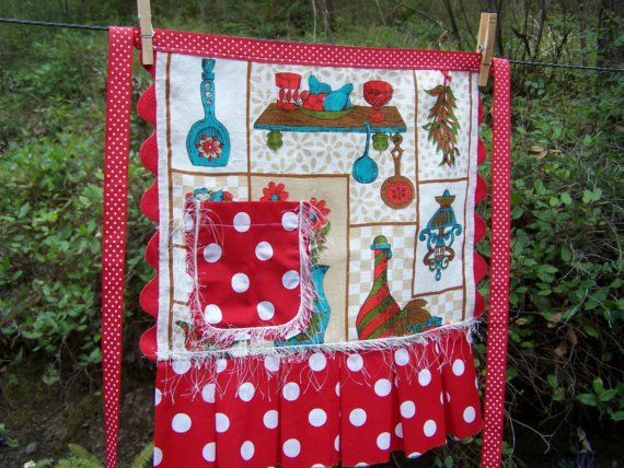 Apron. Vintage Tea Towel made into a womens by WhatsOnTheCatwalk   SOLD