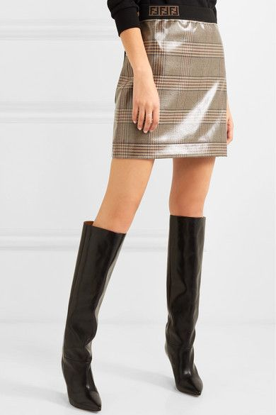 9122e80951 Prince of Wales checked glossed-wool mini skirt | #miniskirts | #skirts