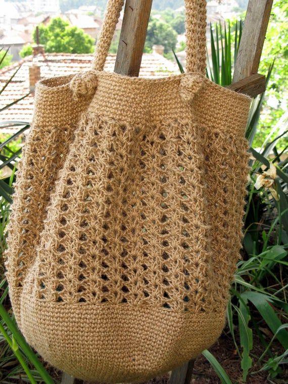 Crochet el bolso del yute / bolso de la verano / playa bolso / bolso de totalizador / materiales 100% naturales