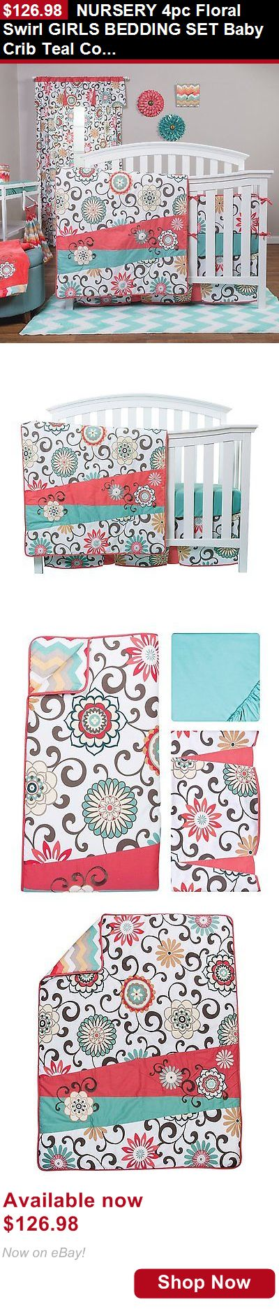 Nursery Bedding Sets: Nursery 4Pc Floral Swirl Girls Bedding Set Baby Crib Teal Coral Chevron Quilt BUY IT NOW ONLY: $126.98