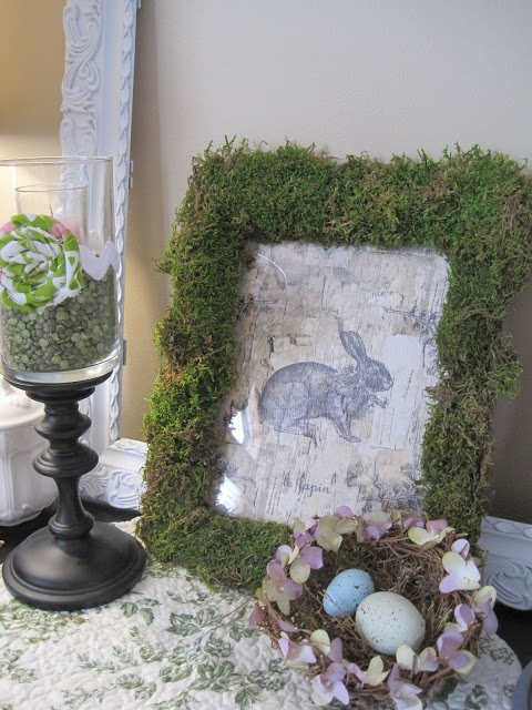 adorable bunny printed on birch paper with moss- great tutorial too
