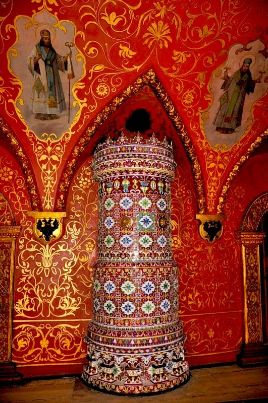 Inside The Terem Palace. Russian mosaic oven, Moscow Kremlin