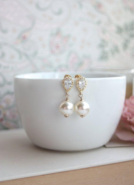 Ivory Cream Swarovski Pearls, Gold Cubic Zirconia Ear Post Earrings. Large Ivory Pearl Wedding Bridal Blush Champagne Bridesmaid Gift. 27