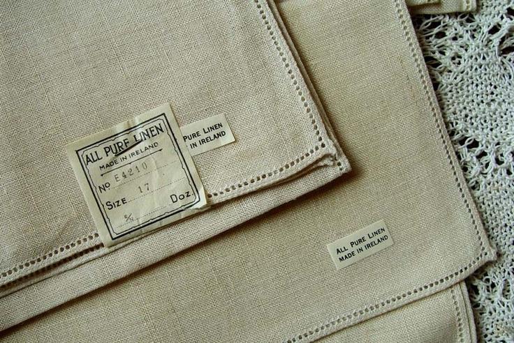 IRISH LINEN Napkins w TagsNapkins Folding, Linens Napkins, Irish Linens, Irish Lace, Folding Ideas