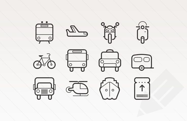 free download - preview of train, plane, bike, bus, taxi, caravan, truck and ship vector icons - adorable retro transporation thin line icons. flat design.