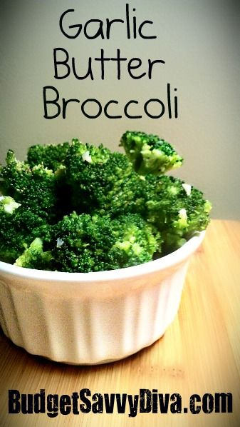Garlic Butter Broccoli  Broccoli ( fresh or thawed from frozen) 20 oz  2 Tablespoons of Butter or Margarine  1 Clove of Garlic Minced  Black Pepper  Salt  Instructions  Cook broccoli in salted boiling water till tender ( about 5 minutes) – drain.  In a pan melt butter and add garlic and cook for about 2 minutes + add broccoli and toss.  Garnish with pepper.