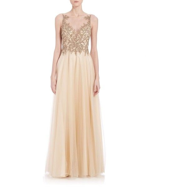 Basix Black Label Illusion Beaded Tulle-Skirt Gown ($470