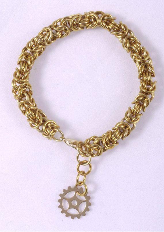 Gold Bracelet / Steampunk Bracelet / Gear Bracelet / Larp Costume / Cosplay Jewelry / Gift for Her / Gold Bracelet Men / Gold Chain