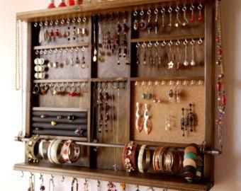 Jewelry holder. Large earrings display shelf. by FineArtHolders