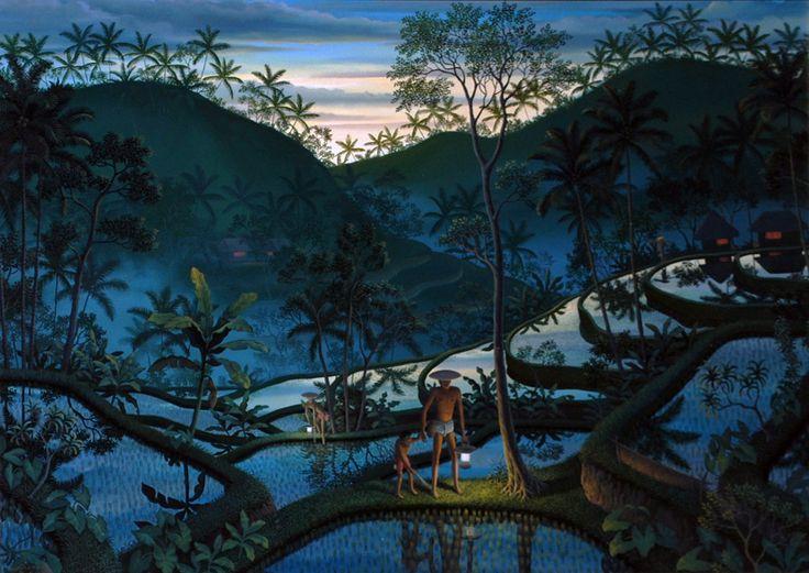 I Gusti Wiranata (b. 1970) Catching eels at dusk