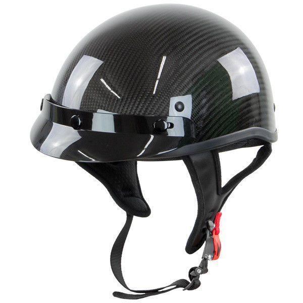 Outlaw T71 Black Carbon-Fiber Ultra Light  Motorcycle Skull Cap Half Helmet #Outlaw