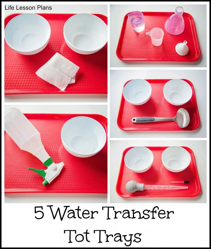 5 tabuleiros de transferência de água. 5 water transfer tot trays, each featuring a unique fine motor skill for kids to practice from Life Lesson Plans