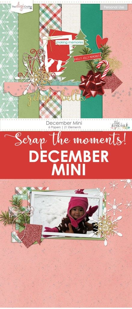With Christmas just around the corner, you can document the great memories with this glittery, festive mini kit! Works in most photo editing programs.