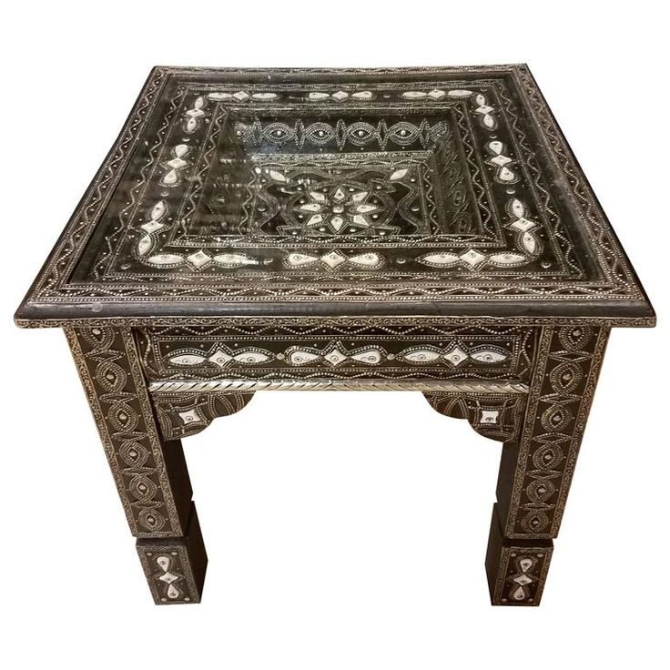 Metal / White Camel Bone Inlaid Moroccan Side Table 1