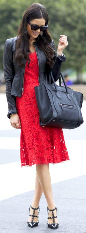 Lace dress + bright red + Rachel Parcell + classic scarlet lace dress + floral detailing   Jacket/Dress: Nanette Lepore, Heels: Valentin, Bag: Celine.
