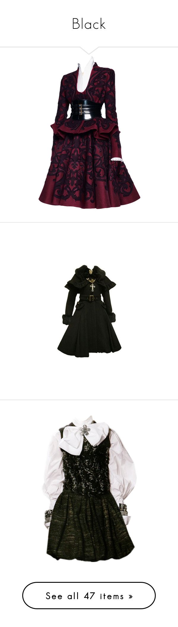 """""""Black"""" by ahapplet ❤ liked on Polyvore featuring dresses, gowns, steampunk, vestidos, purple dress, steampunk dress, steam punk dress, coats, outerwear and jackets"""