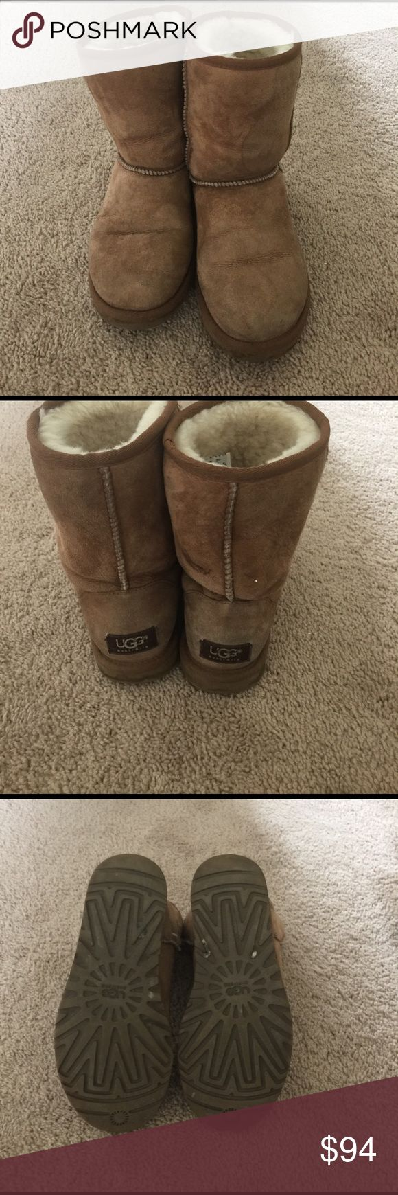 Brown short ugg boots Light brown short ugg boots. Worn a handful of times. Price is negotiable and I offer a 10% bundle savings off 2 or more items. UGG Shoes Winter & Rain Boots