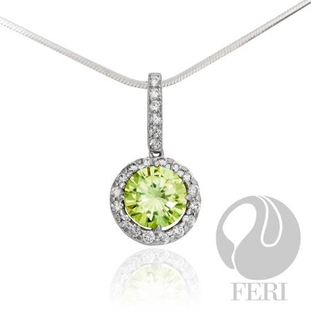 """- Exclusive FERI 950 Siledium silver - Exclusive dual natural rhodium and palladium plating - Set with exclusive FERI Swan cut lab stones - Colour: white and green - Dimension: 23mm x 12mm (0.91"""" x 0.47"""")"""