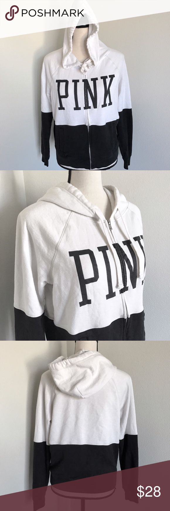 PINK zip up Black and white zip up hoodie ~ PINK Victoria's Secret Tops Sweatshirts & Hoodies