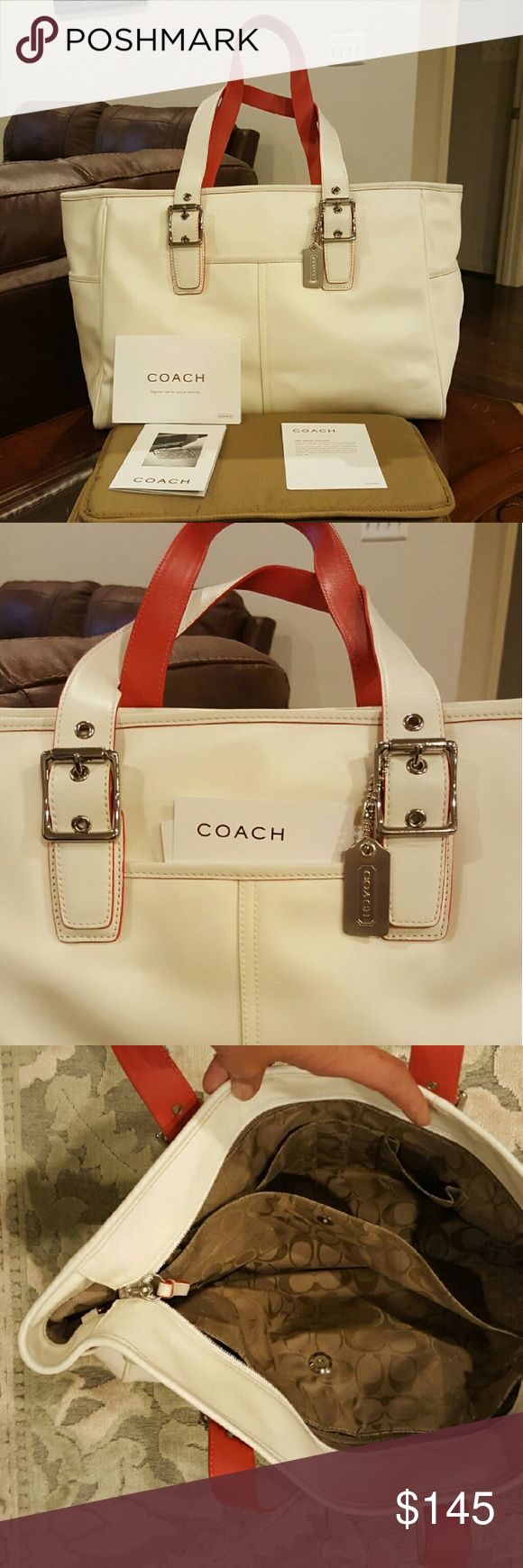 "Coach nylon and leather baby diaper bag zip tote Height (in): 11.5 Width (in): 15"" bottom 19 "" top Lenght  Depth (in): 5 Strap Drop (in): 13  New without tags Red and white Coach diaper bag   Handles are made of leather  Diaper bag is white nylon like canvas There are 2 large zippered pockets and 4 other pockets inside 2 large side pockets on the sides of the bag Includes changing pad, registration card and care card  Only items pictured are included in the listing   Has metal feet on bottom…"